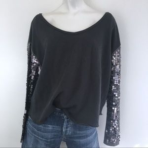 FREE PEOPLE   SEQUIN SLEEVE   PULL OVER